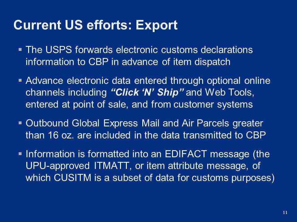 Current US efforts: Export