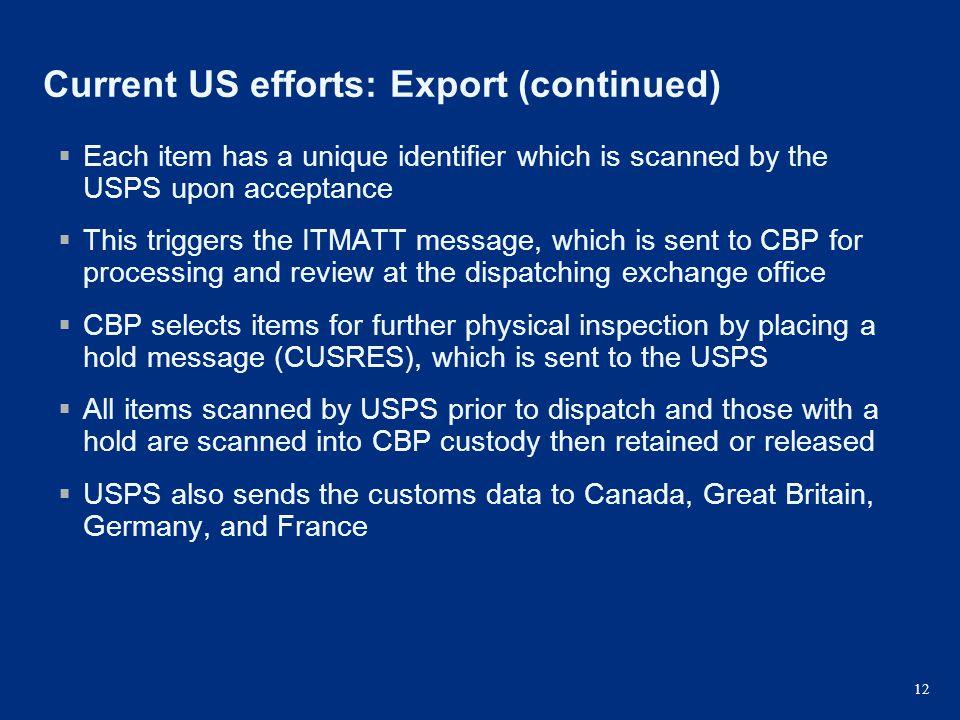 Current US efforts: Export (continued)