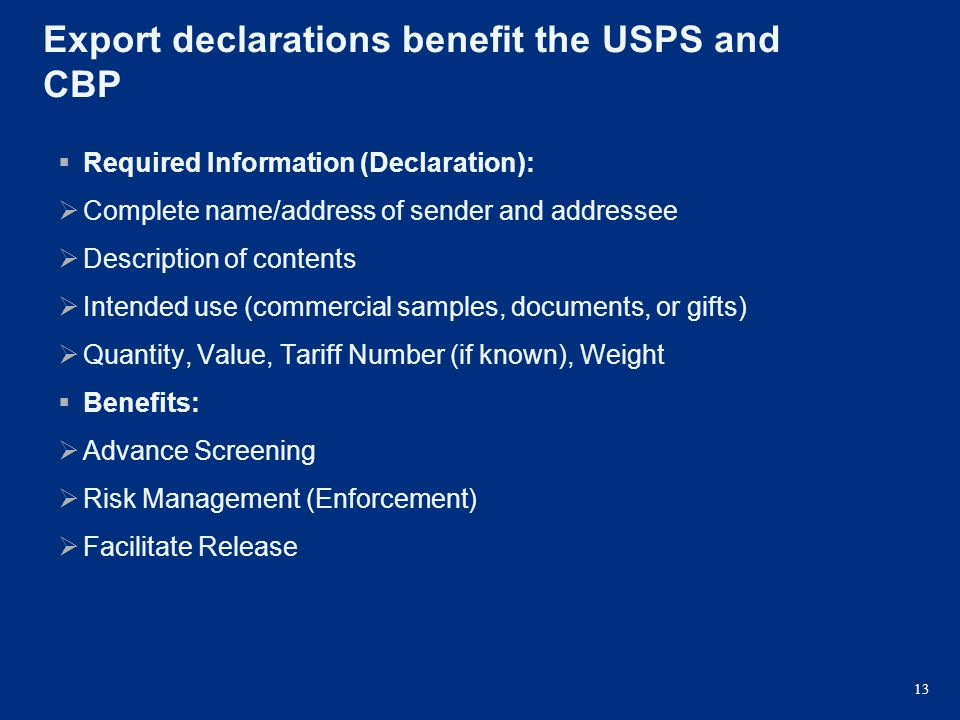 Export declarations benefit the USPS and CBP