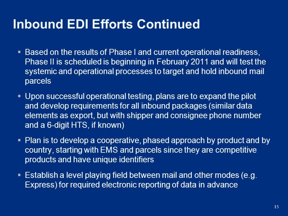 Inbound EDI Efforts Continued