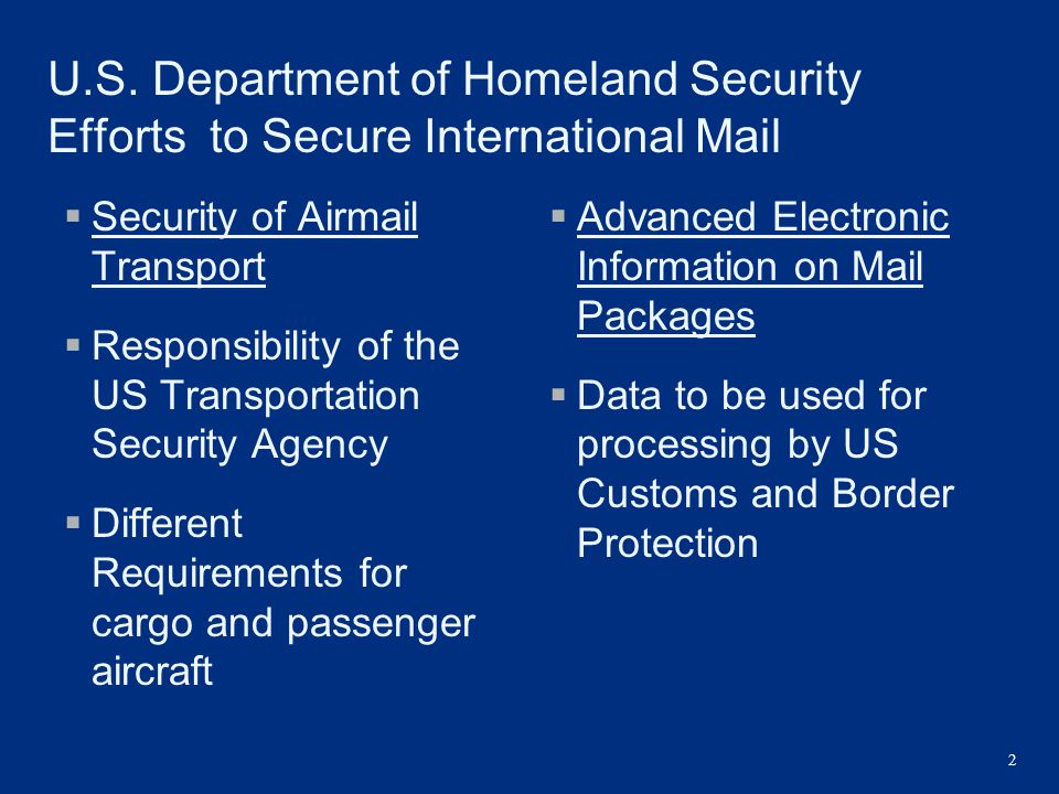 U.S. Department of Homeland Security Efforts to Secure International Mail
