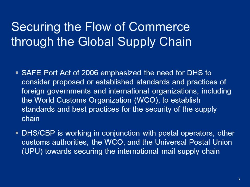 Securing the Flow of Commerce through the Global Supply Chain
