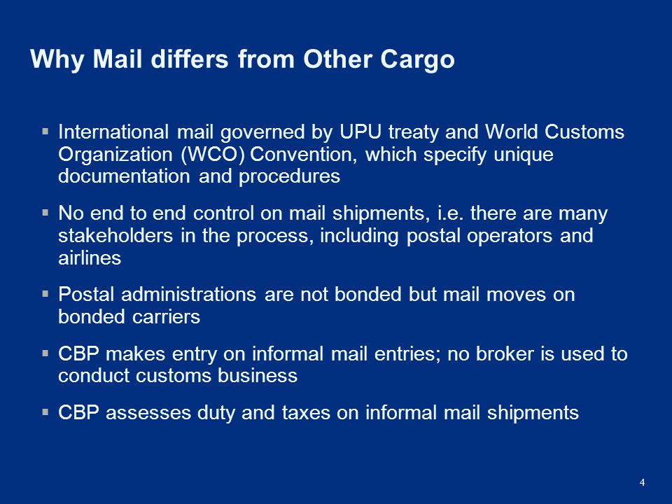 Why Mail differs from Other Cargo