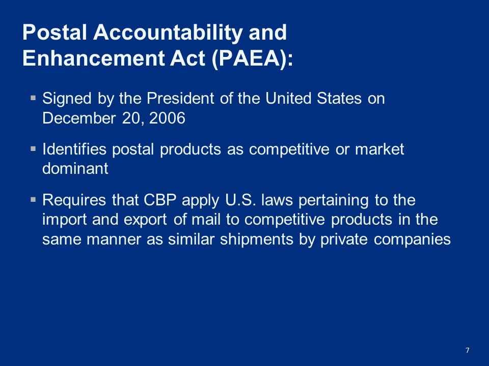 Postal Accountability and Enhancement Act (PAEA):