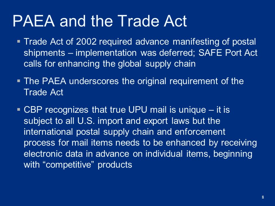 PAEA and the Trade Act