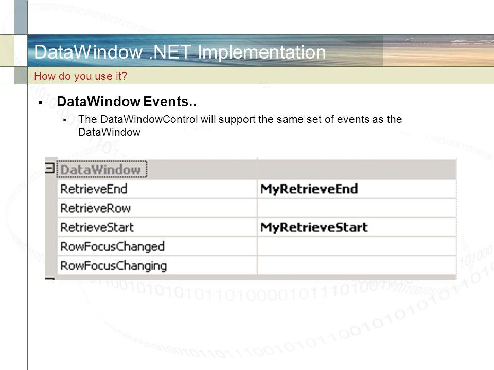 DataWindow .NET Implementation