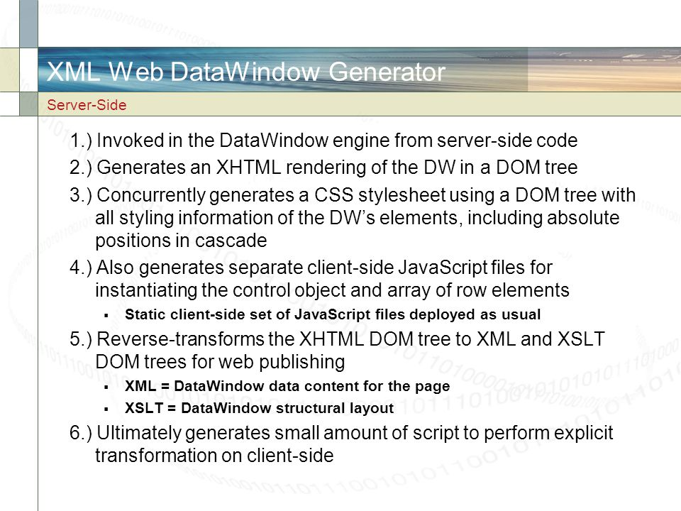 XML Web DataWindow Generator