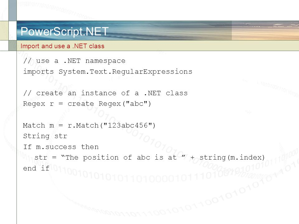 PowerScript.NET // use a .NET namespace
