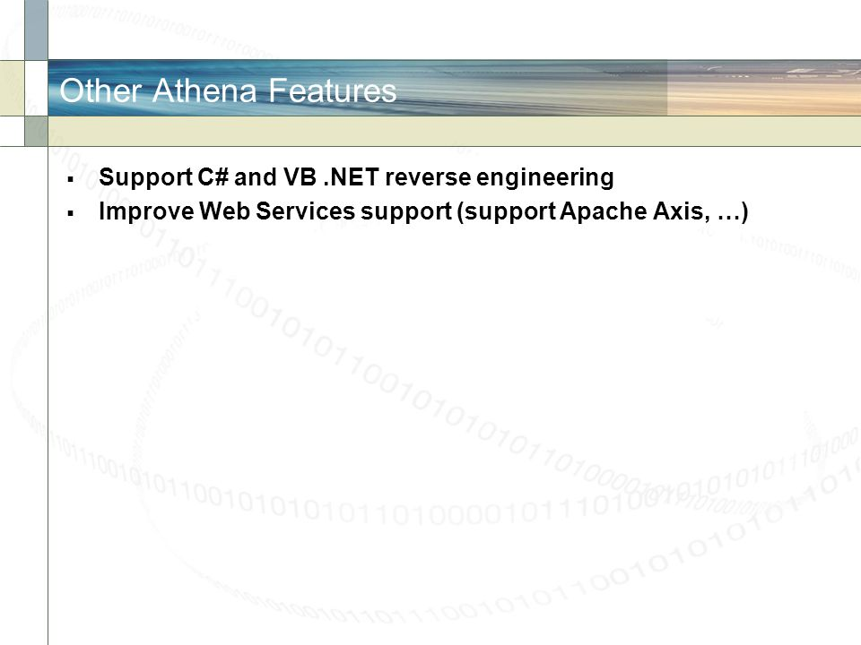Other Athena Features Support C# and VB .NET reverse engineering