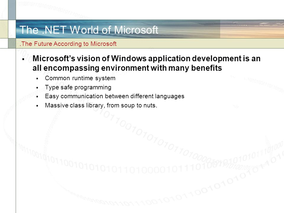 The .NET World of Microsoft