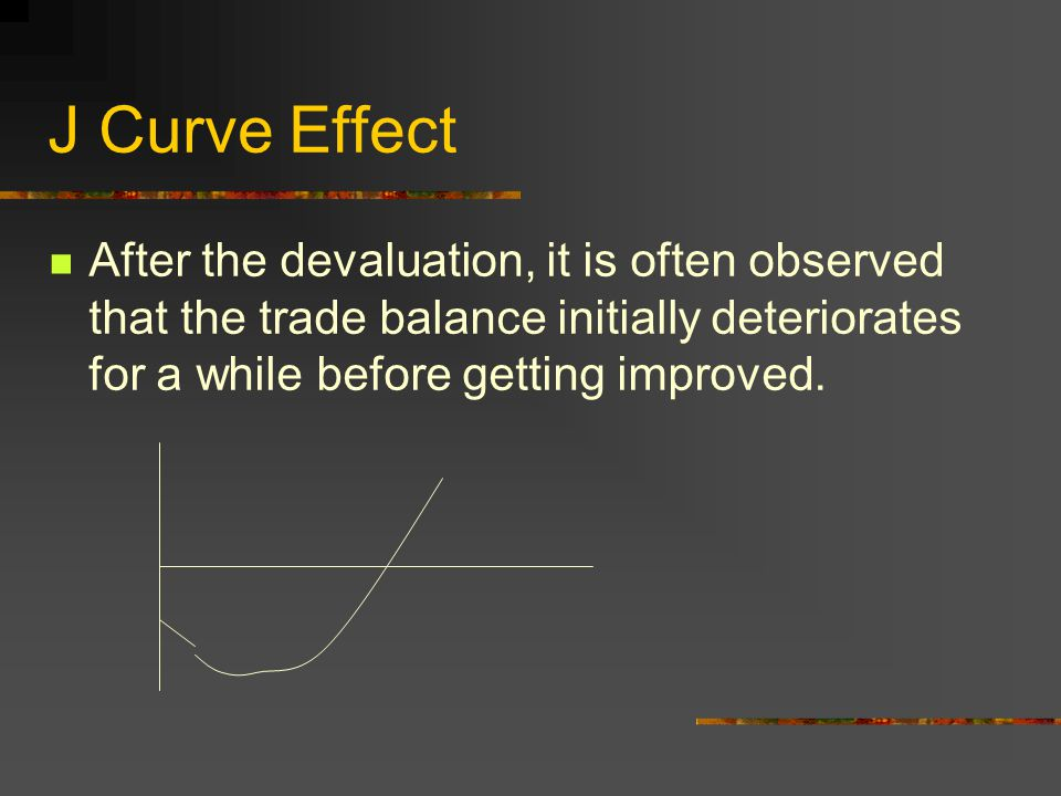 J Curve Effect After the devaluation, it is often observed that the trade balance initially deteriorates for a while before getting improved.
