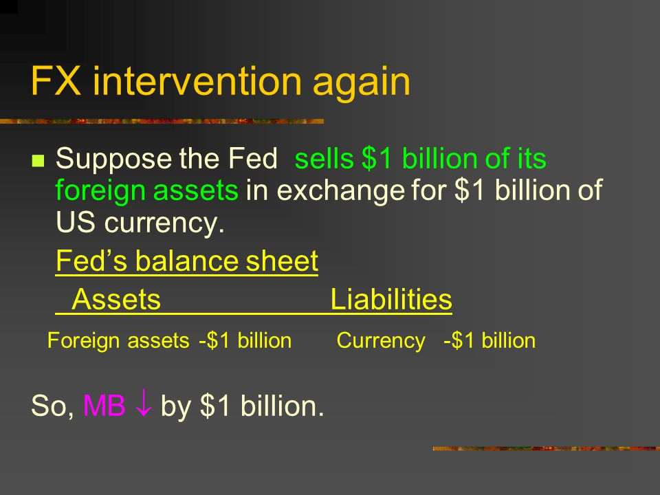 FX intervention again Suppose the Fed sells $1 billion of its foreign assets in exchange for $1 billion of US currency.