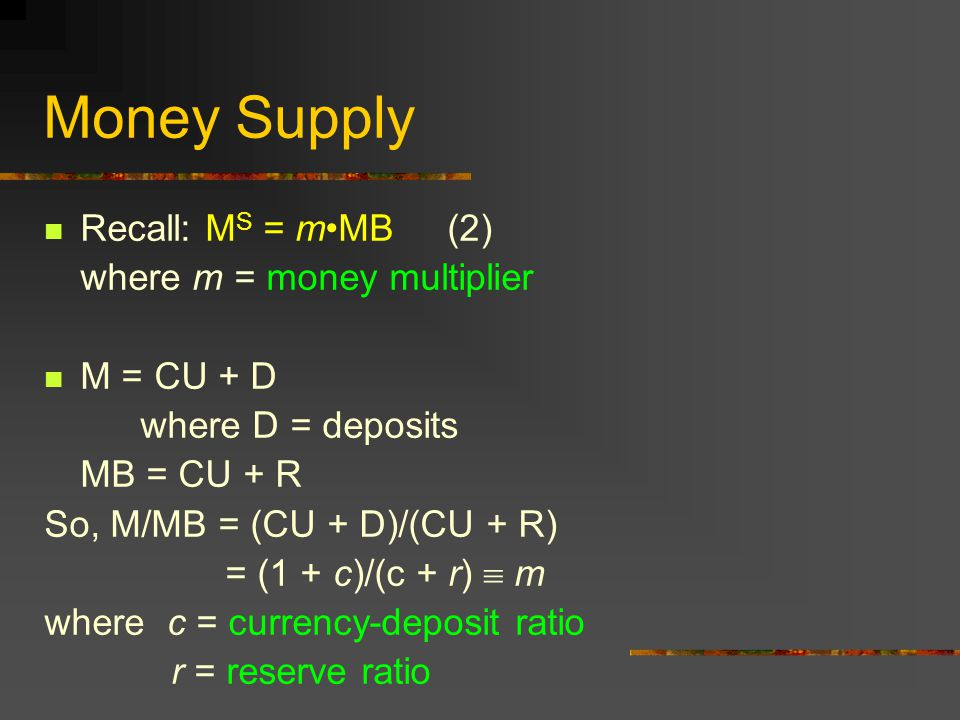 Money Supply Recall: MS = m•MB (2) where m = money multiplier
