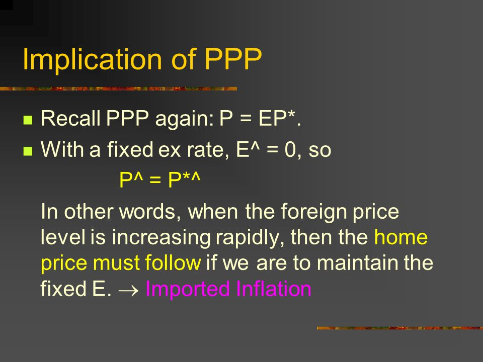 Implication of PPP Recall PPP again: P = EP*.