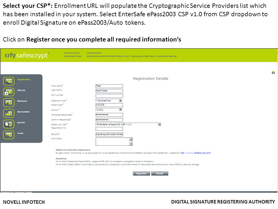Click on Register once you complete all required information's
