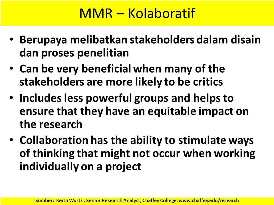 MMR – Kolaboratif Berupaya melibatkan stakeholders dalam disain dan proses penelitian.