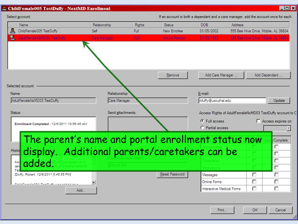 The parent's name and portal enrollment status now display