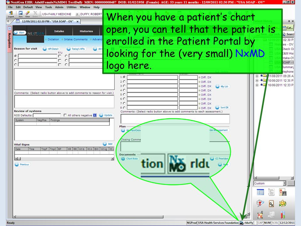 When you have a patient's chart open, you can tell that the patient is enrolled in the Patient Portal by looking for the (very small) NxMD logo here.