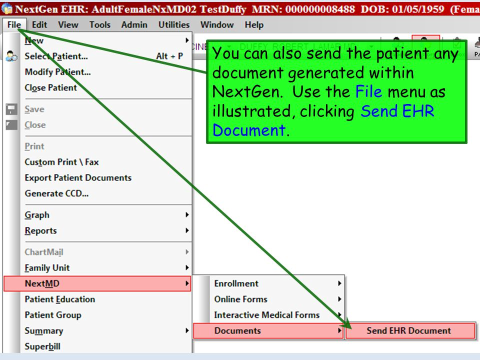 You can also send the patient any document generated within NextGen