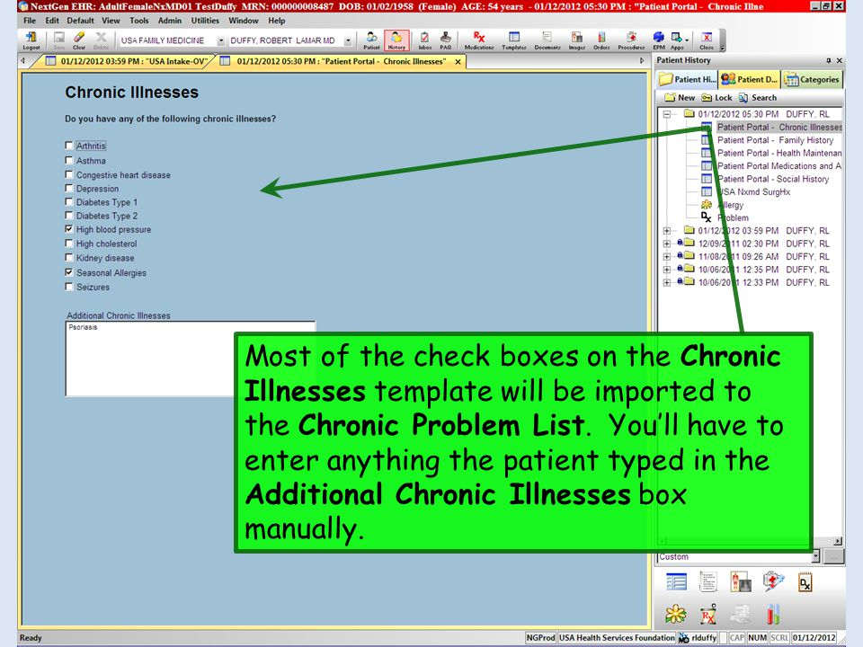 Most of the check boxes on the Chronic Illnesses template will be imported to the Chronic Problem List.