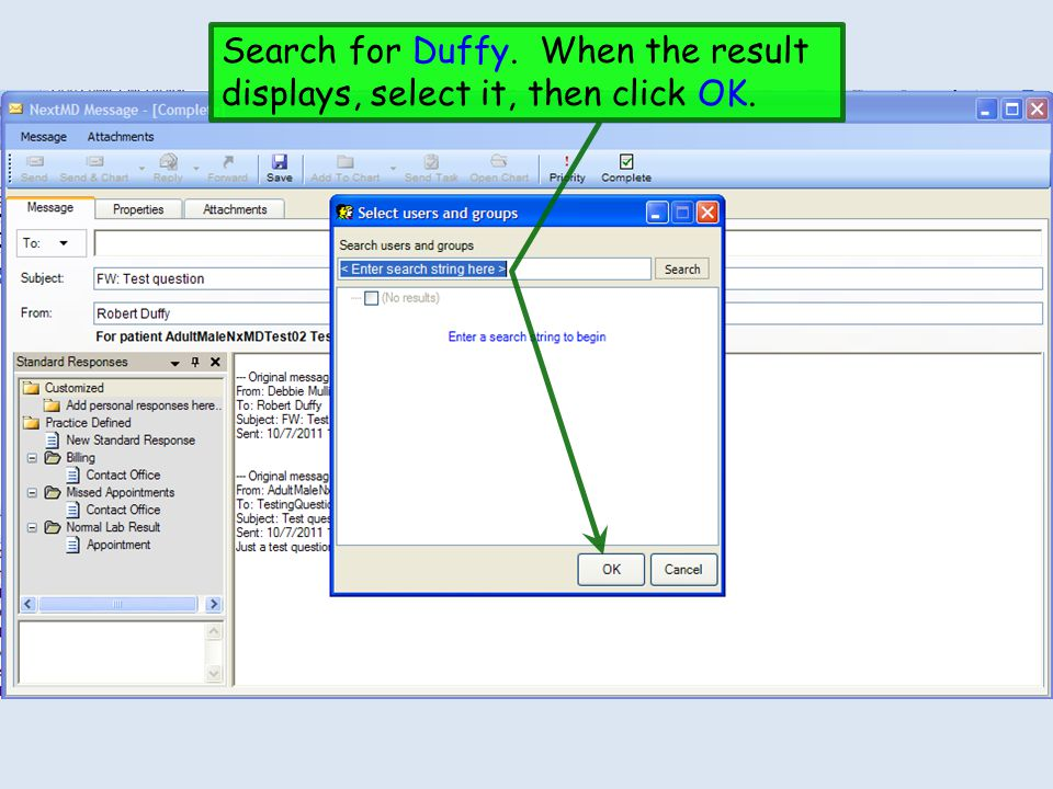 Search for Duffy. When the result displays, select it, then click OK.