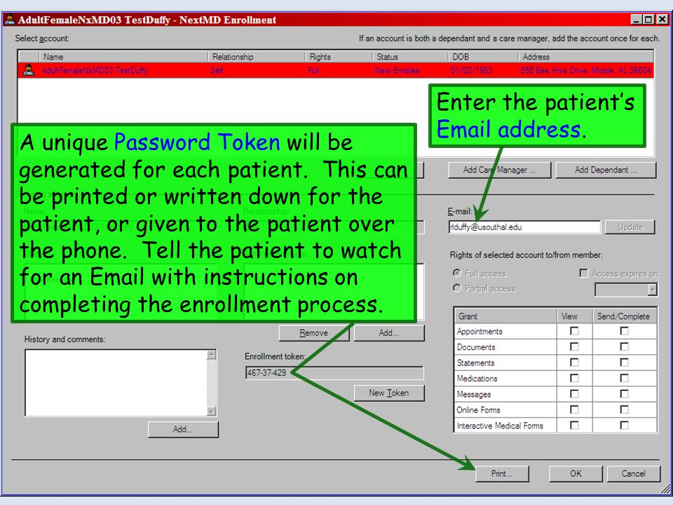 Enter the patient's Email address.