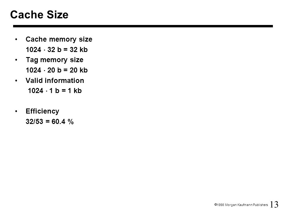 Cache Size Cache memory size 1024  32 b = 32 kb Tag memory size