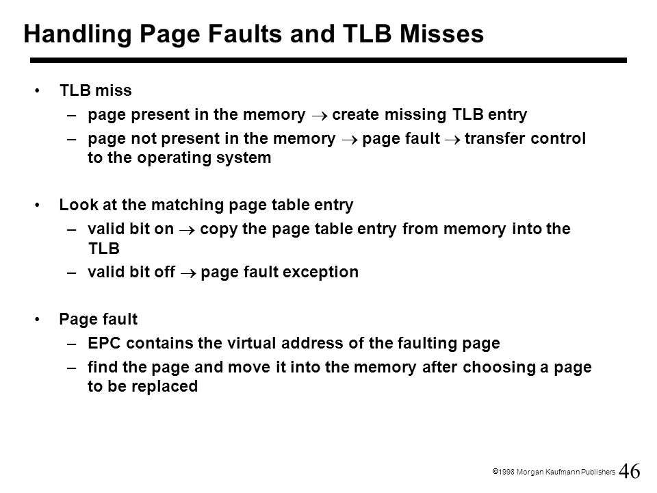 Handling Page Faults and TLB Misses