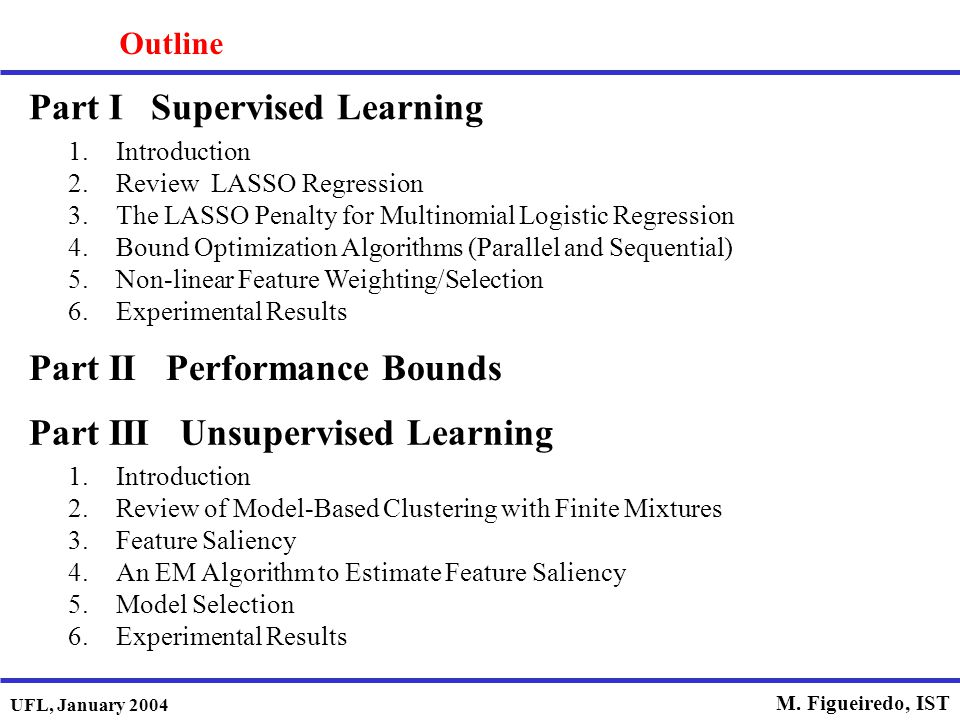 Part I Supervised Learning