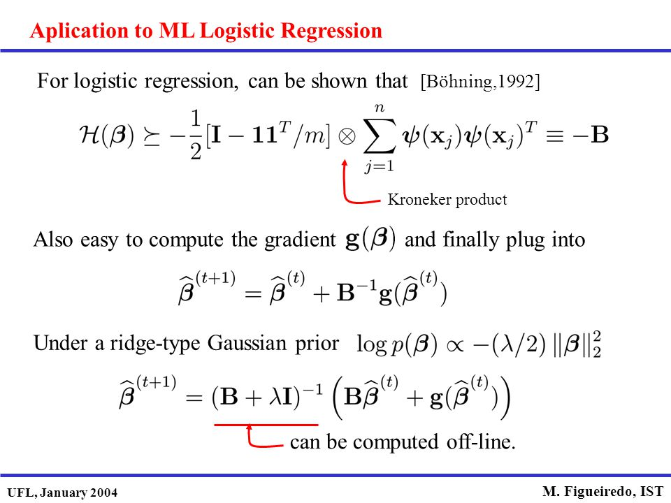 Aplication to ML Logistic Regression