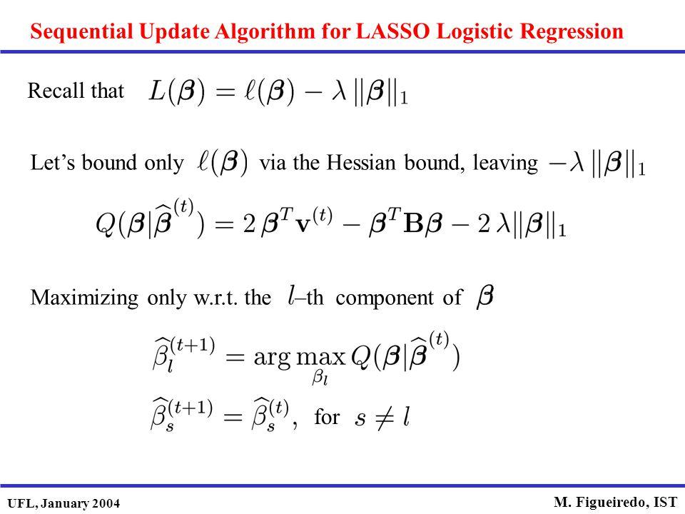 Sequential Update Algorithm for LASSO Logistic Regression
