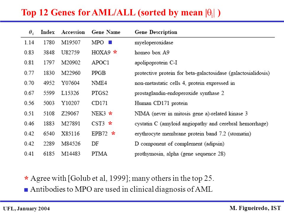 Top 12 Genes for AML/ALL (sorted by mean |qi| )