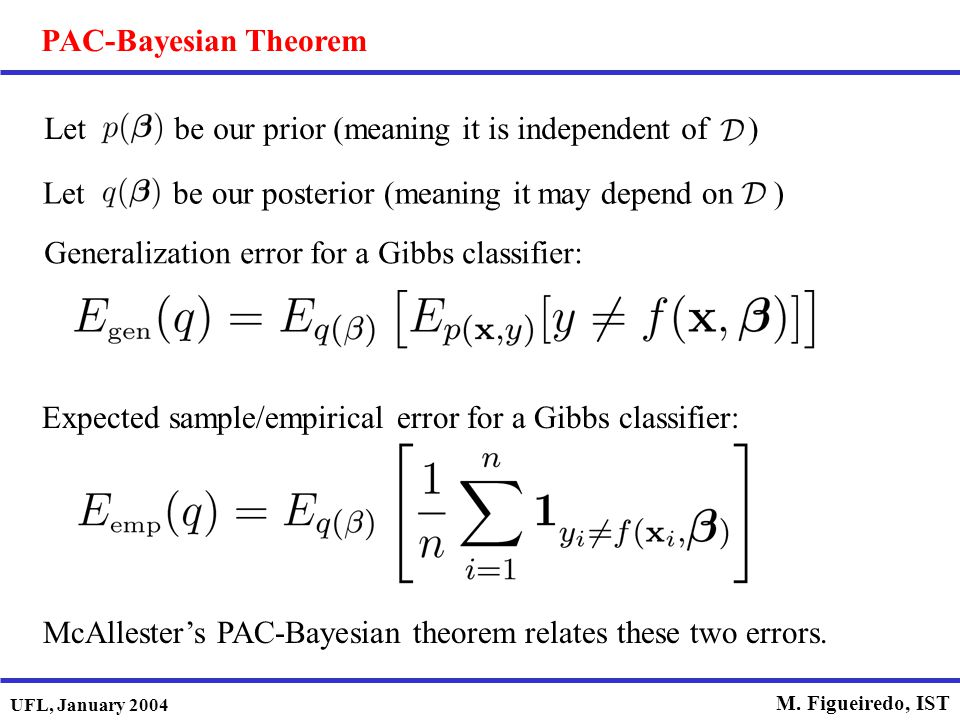 PAC-Bayesian Theorem Let be our prior (meaning it is independent of ) Let be our posterior (meaning it may depend on )