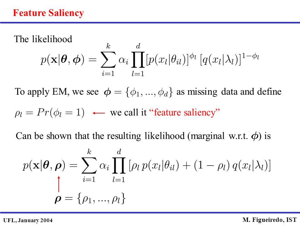 Feature Saliency The likelihood. To apply EM, we see as missing data and define.