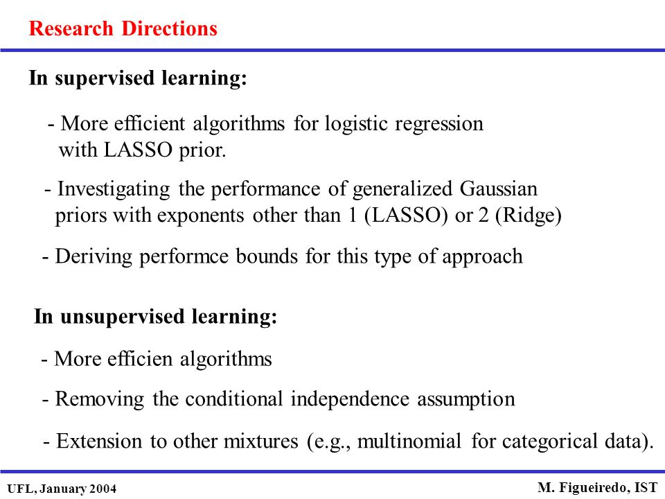 Research Directions In supervised learning: In unsupervised learning: More efficient algorithms for logistic regression with LASSO prior.