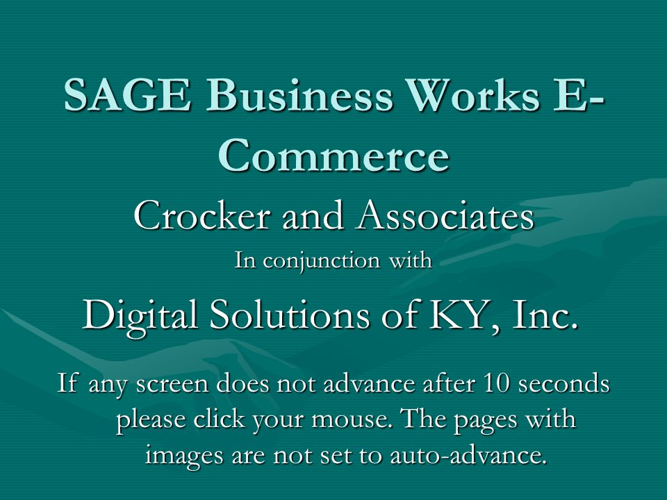 SAGE Business Works E-Commerce