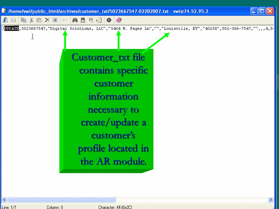Customer_txt file contains specific customer information necessary to create/update a customer's profile located in the AR module.
