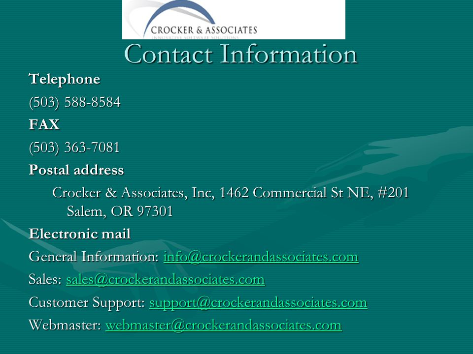 Contact Information Telephone. (503) 588-8584. FAX. (503) 363-7081. Postal address.