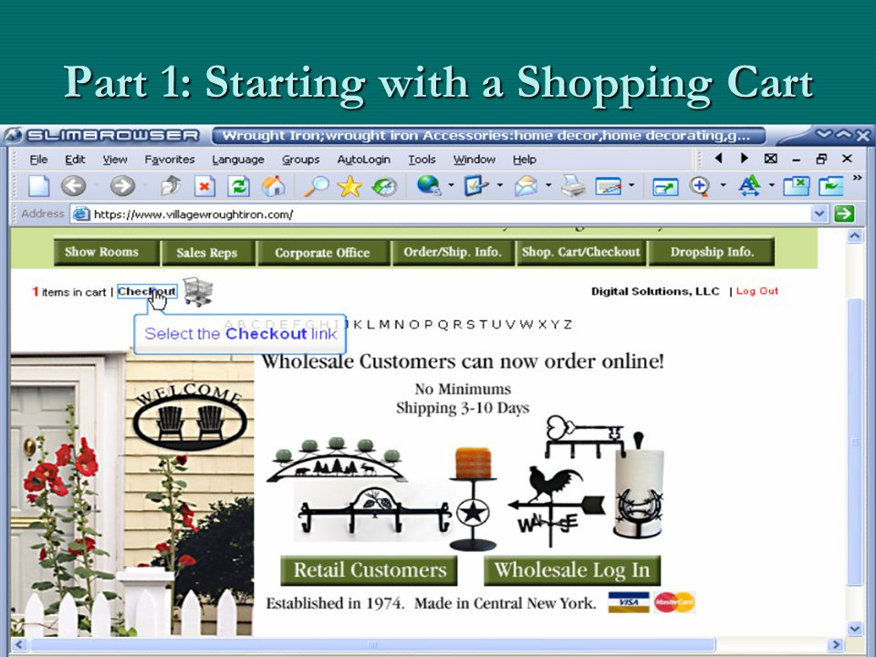 Part 1: Starting with a Shopping Cart