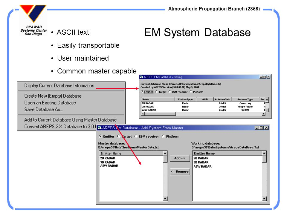 EM System Database ASCII text Easily transportable User maintained