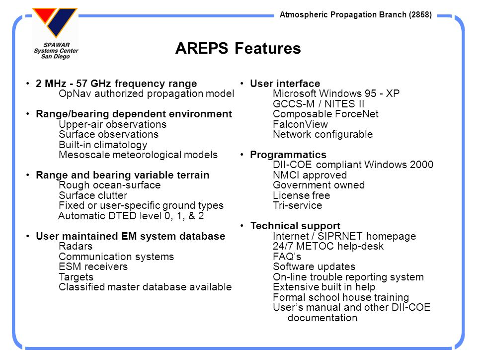 AREPS Features 2 MHz - 57 GHz frequency range