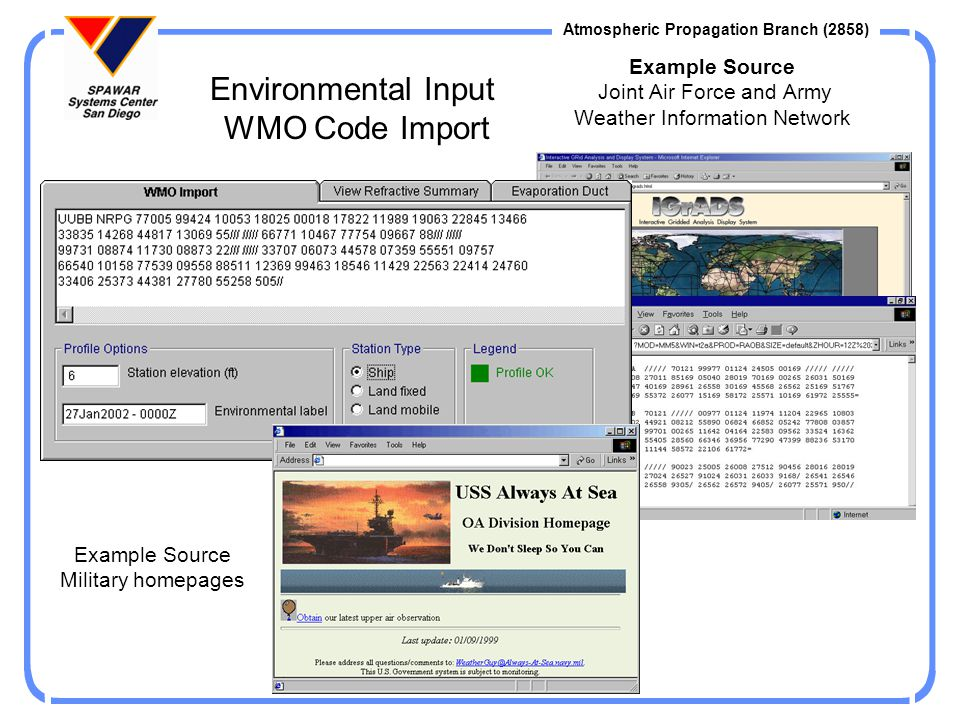 Example Source Joint Air Force and Army Weather Information Network