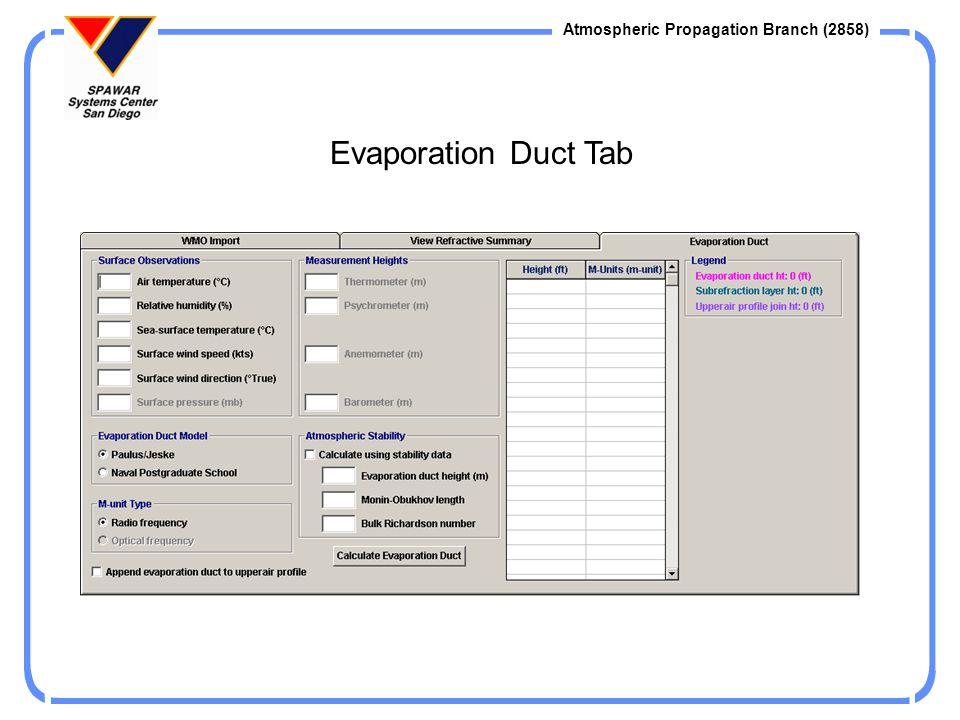 Evaporation Duct Tab