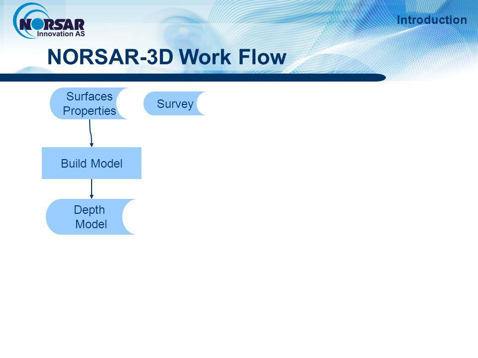 NORSAR-3D Work Flow Introduction Surfaces Survey Properties