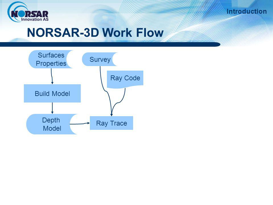 NORSAR-3D Work Flow Introduction Surfaces Survey Properties Ray Code