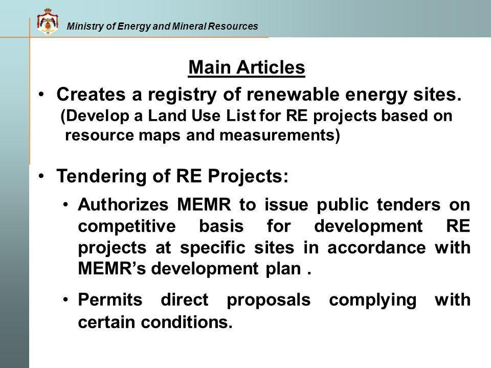 Creates a registry of renewable energy sites.