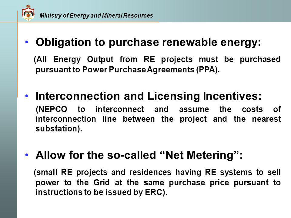 Obligation to purchase renewable energy: