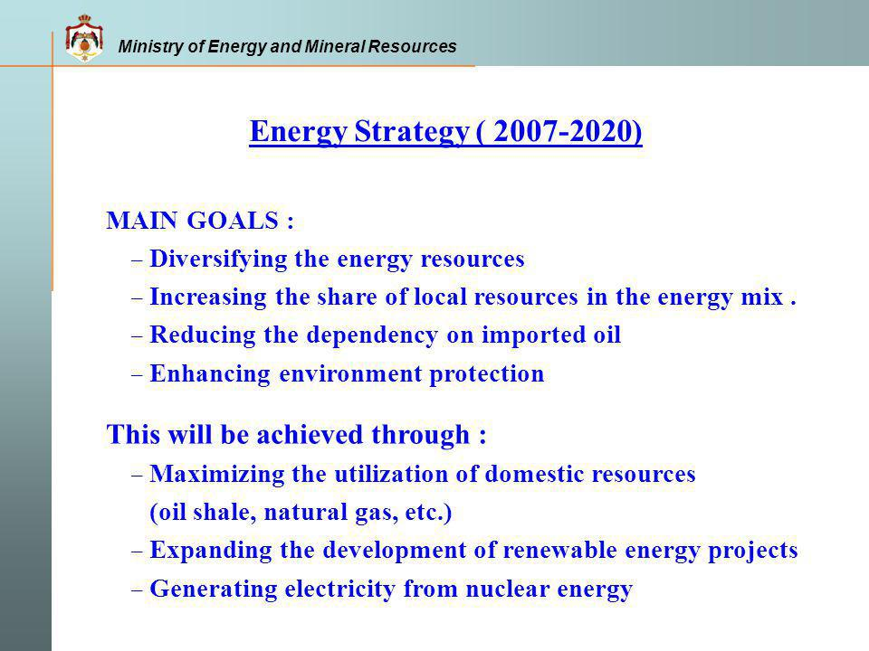Energy Strategy ( 2007-2020) This will be achieved through :
