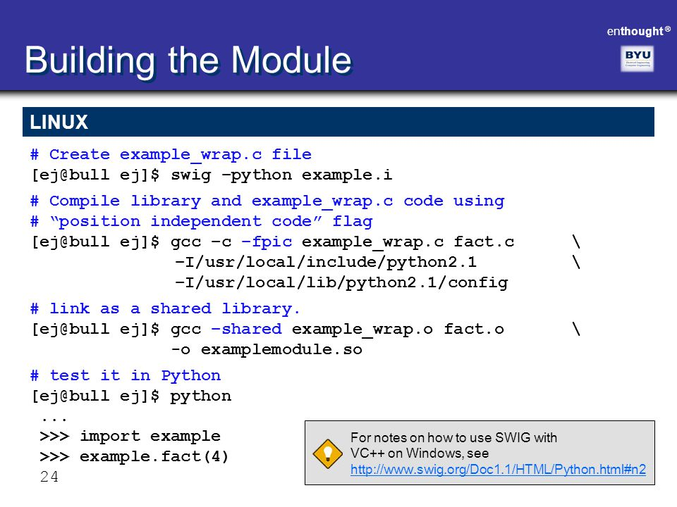 Building the Module LINUX # Create example_wrap.c file