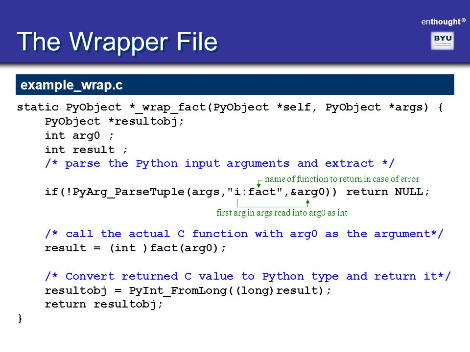 The Wrapper File example_wrap.c
